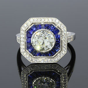 2.42CTW Vintage Diamond and Sapphire Ring