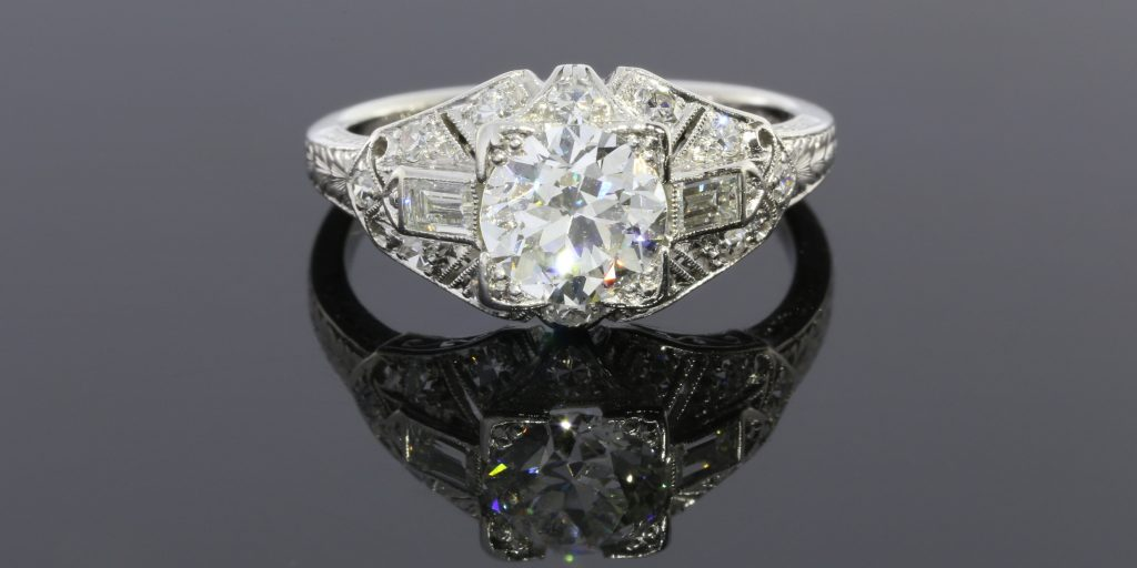 Diamond & Platinum Antique Ring