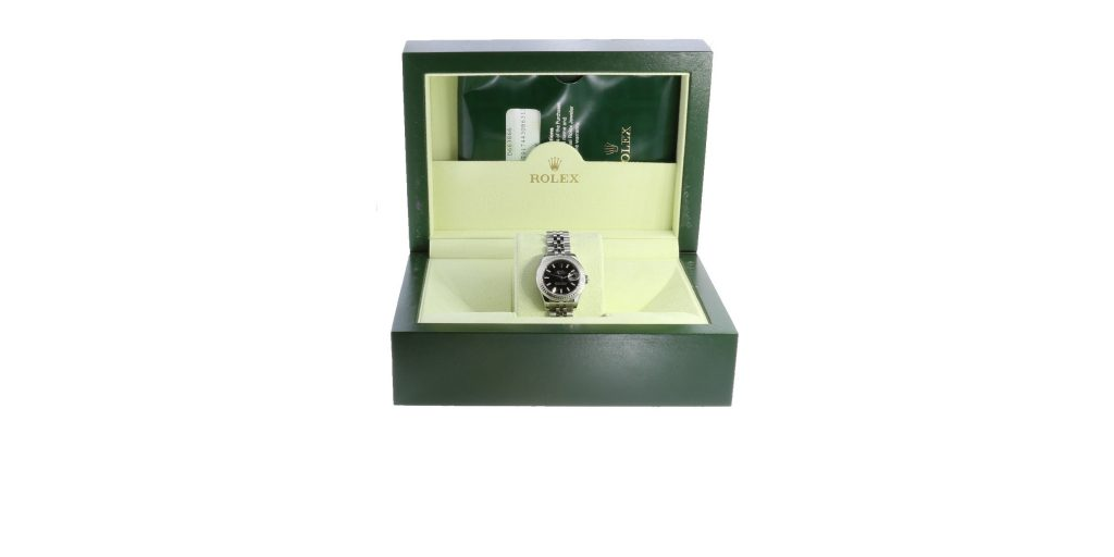 This classic lady's Rolex DateJust had original packaging and paperwork, which significantly increased the loan value.