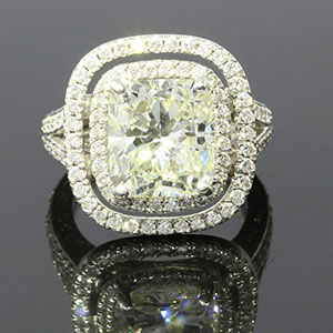 5CT Cushion Diamond Halo Ring
